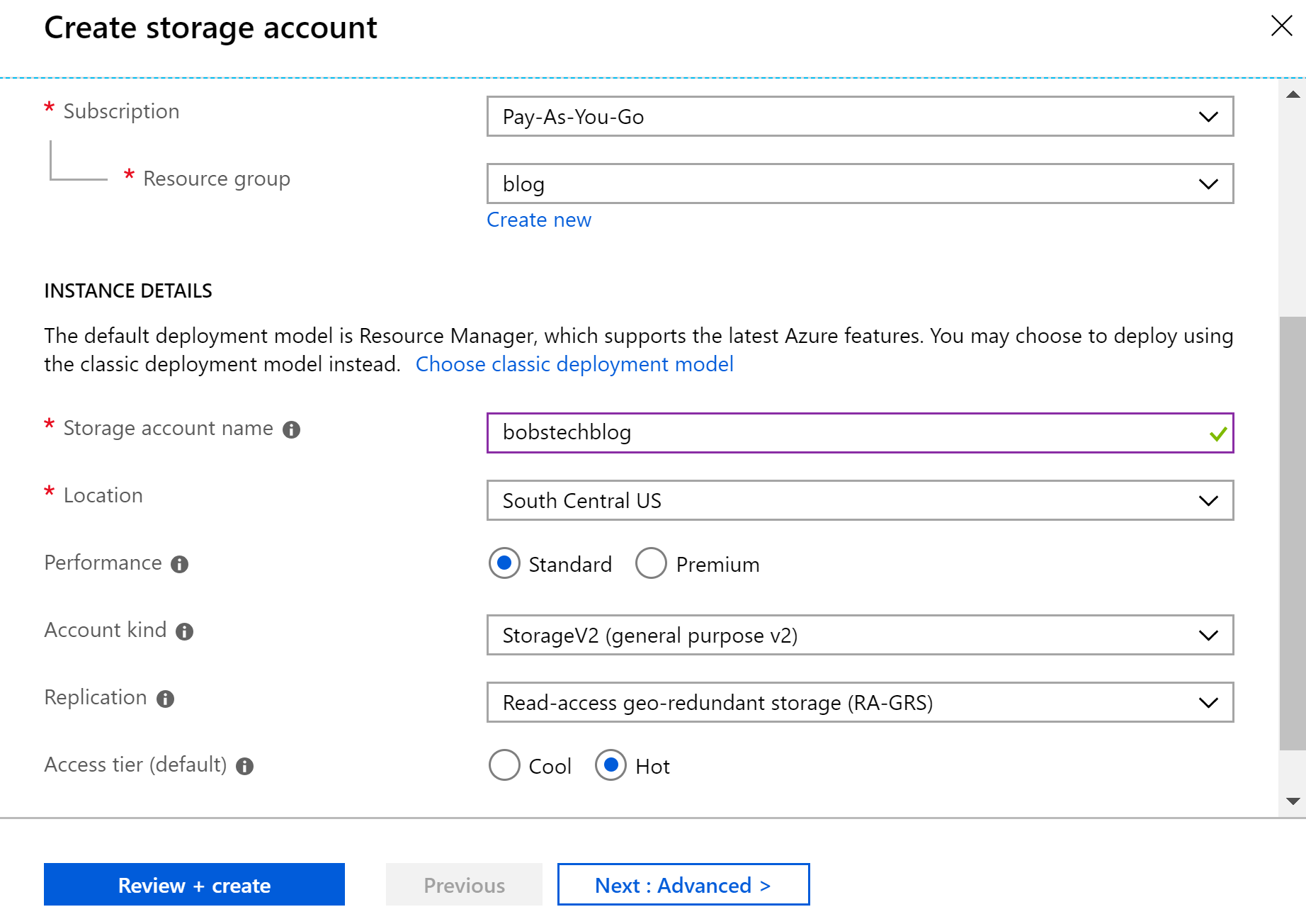 Storage Account Configuration
