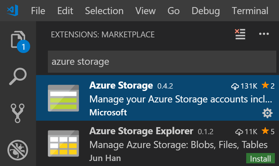 VS Code Azure Storage Extension